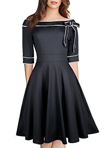 (Women's Casual Off Shoulder Pocket Bowknot Rockabilly Swing Vintage Cocktail Party Dress 188 (XL,)