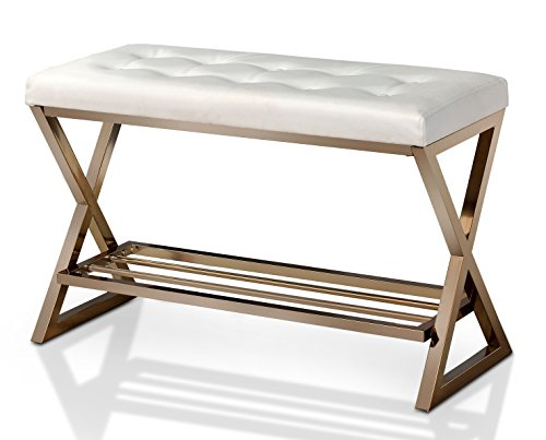 HOMES: Inside + Out and Gold Aaliya Leather Bench, White - Contemporary style; White faux Leather Strong and Sturdy gold metal X-shaped legs Lower open shelf for storage space - entryway-furniture-decor, entryway-laundry-room, benches - 41JXz%2B8dKUL -