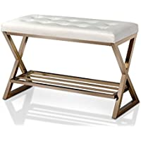 HOMES: Inside + Out IDF-BN6910GL-WH Aaliya Leather Bench and Gold, White
