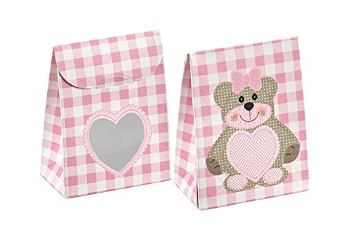 Decorative Gift Favor Box with Lid Teddy Bear Cutout, Set of 12, Best Designer Quality for Birthday, Wedding, Parties, Easy Fold, No Assembly Required, by Giovanni Grazielli, Pink Gingham Check