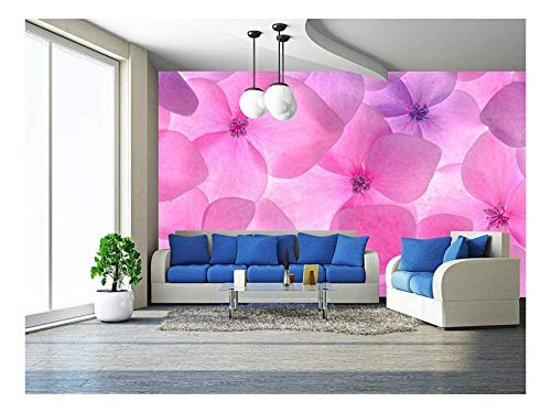 wall26 - Pink Flower Background Close Up. Romantic and Love Pattern - Removable Wall Mural | Self-Adhesive Large Wallpaper - 100x144 inches