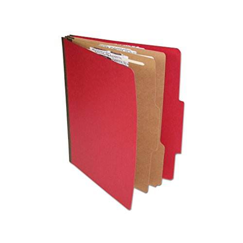 AMZfiling Colored Pressboard Classification Folder with 6 Sections- Ruby Red, Letter Size, Top Tab (15/Box) ()
