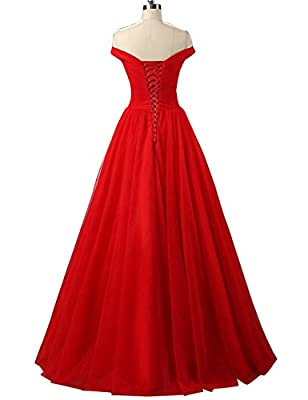 Duraplast Women's Off Shoulder Prom Dress Tulle Princess Evening Gown