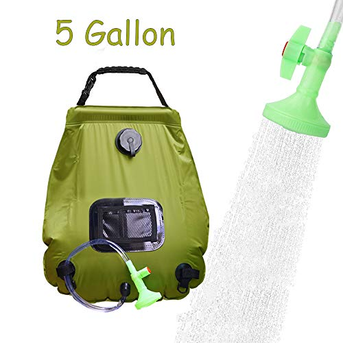 Solar Shower Bag Outdoor Camp Bag with Removable Hose and On-Off Switchable Shower Head for Camping Beach Swimming Outdoor Traveling Hiking (5 Gallon) ()