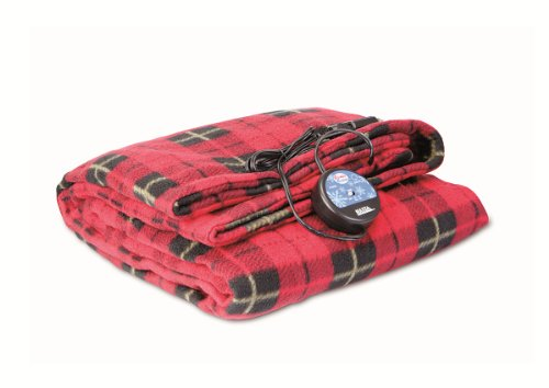 MAXSA 20014 Large Heated Travel Blanket for In-Vehicle Usage with 12-Volt Car Adapter and Safety Timer (41