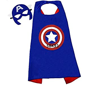 - 41JXzTiqzSL - Kids Capes JDProvisions Captain America Blue and Mask Set (Captain America) (Blue)