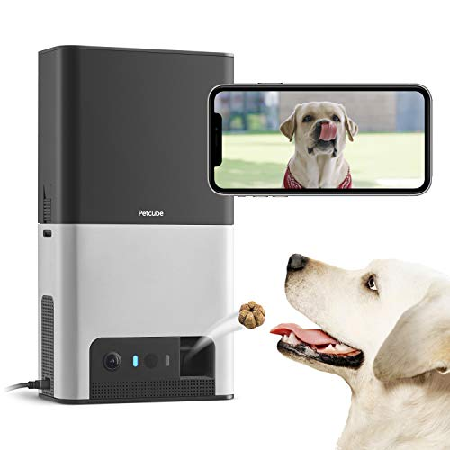 [New 2019] Petcube Bites 2 Wi-Fi Pet Camera with Treat Dispenser & Alexa Built-In, for Dogs & Cats. 1080P HD Video, 160° Full-Room View, 2-Way Audio, Sound/Motion Alerts, Night Vision, Pet Monitor from Petcube