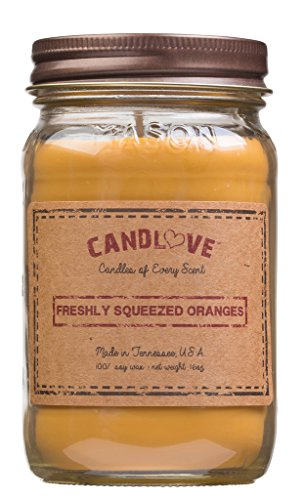 CANDLOVE Freshly Squeezed Oranges Scented 16oz Mason Jar Candle 100% Soy Made in The USA