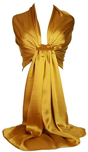 Slkchf1 gasa sn Gold de para satén Hijab honor Wrap sedoso Evening boda GFM bufanda chal damas slk2 q6WEZKya