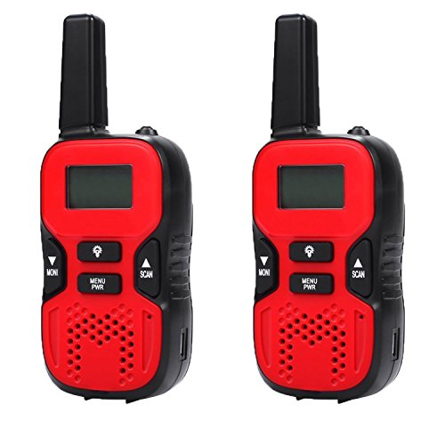 Kids Walkie Talkie,Hi-Tech 3.7-Mile Range 22-Channel FRS/GMRS Two-Way Radio for Children,Kid, Girls, Boys, Teens, Adults (Pair)Red