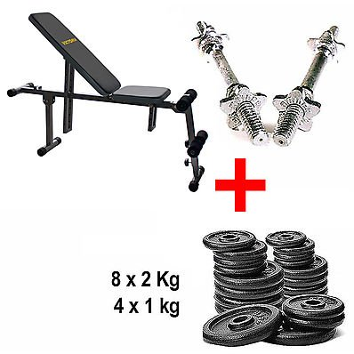 Kit Banco Bench Trainer + Mancuernas + pesas