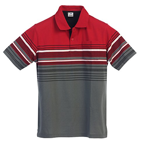 Striped Jersey Polo - Gioberti Mens Modern Fit Striped Polo Shirt with Pocket, Red, Small