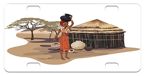 African Woman Mini License Plate by Ambesonne, Native Woman Carrying a Pot Hut Tree Natural Landscape Village Illustration, High Gloss Aluminum Novelty Plate, 2.94 L x 5.88 W Inches, - The Hut Village