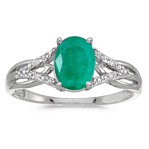 FB Jewels 10k White Gold Genuine Green Birthstone Solitaire Oval Emerald And Diamond Wedding Engagement Statement Ring - Size 7.5 (0.9 Cttw.) ()