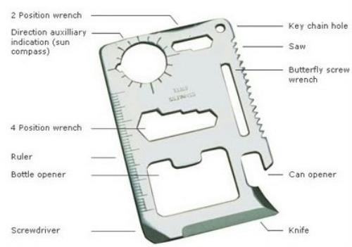 11 In 1 Stainless Steel Survival Credit Card Sized Multi Tool by Donaldsons (Image #4)