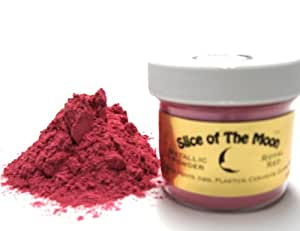 Rose Red Mica Powder 1oz, Metallic Pink Powder, Cosmetic Mica, Slice of the Moon