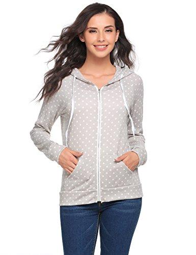 EASTHER Women's Printed Adrian Fleece Zip-Front Hoodie Jacket(Light Grey,XL) (Zip Front Printed)