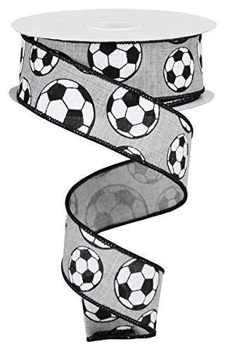Soccer Ribbon - Sports Glitter Wired Ribbon - 10 Yards (Soccer, Light Grey, 1.5