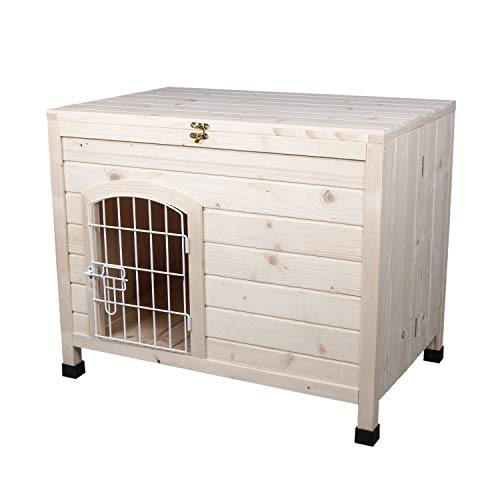 LINLUX Indoor Wooden Dog House with Wire Door, Foldable Kennel with Opening Roof & Adjustable Feet, Only 4-Steps Assembled, Home Pet Furniture (House Dog Roof Removable)