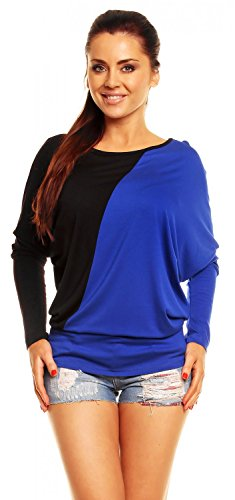 Zeta Ville - Womens Batwing Loose Baggy Top Jumper Sweat Colour Block 104z (Black & Royal Blue, US 12/14)