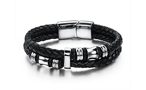 [Handmade Weave Double Layer Leather 316L Stainless Steel Wrap Bracelet Magnetic Clasp Silver Black (7.8)] (Mens Evil Knight Costumes)