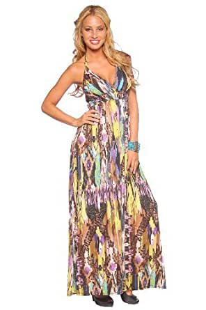 Sexy Halter Designer Gown Multi Color Print Stretch Surplice Womens Long Maxi Dress