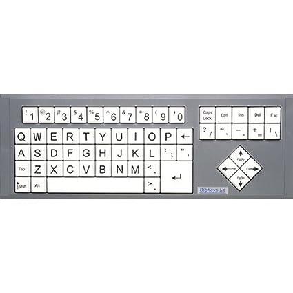 BigKeys LX - Teclado para ordenador (teclas blancas con teclado, impresión grande, letras de impresión de gran ...