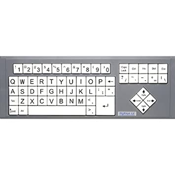 Amazon.com: BigKeys LX Large Print Computer Keyboard USB Wired Black Big Letters on White Background - Low Vision, or Low Light for Visually Impaired ...