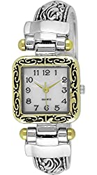 Moulin Women's Elegant Medallion Cuff Silver and Gold Watch #12036.74069