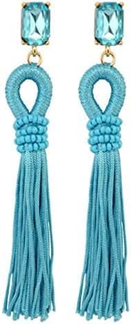 Bohemia Big Crystal Rhinestone Long Tassels Dangle Stud Earrings Eardrop for Women's Girls Jewelry