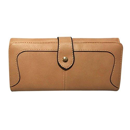 Lane Weston Women's Wallet RFID Blocking Large Capacity Lightweight Ladies Clutch Multi Card Holder Bifold Organizer (Camel) - Tan Womens Wallet