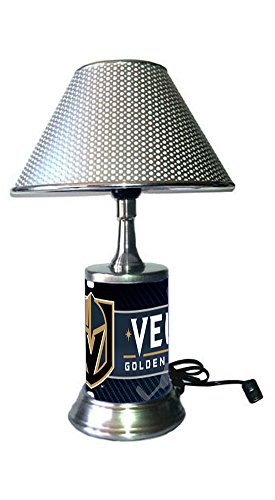 JS Golden Knights Table Lamp with Chrome Colored Shade, Your Favorite Team Plate Rolled in on The lamp Base, Vegas ()