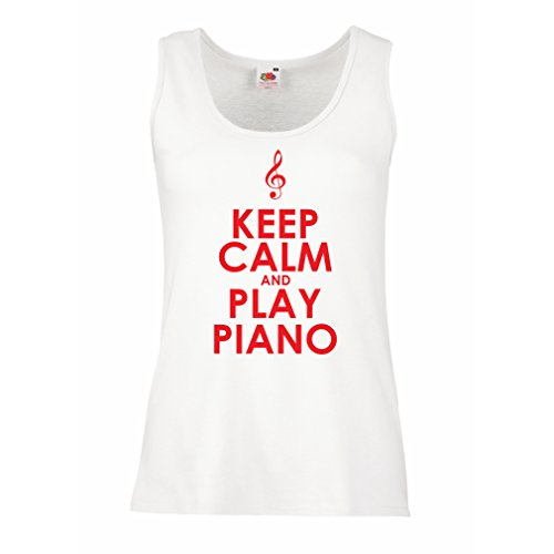 Sleeveless t Shirts for Women Play Piano - Ain't got no Wrong Notes (Medium White Red) ()