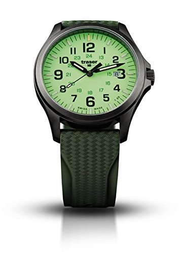 Traser Officer Pro GunMetal, Rubber Strap, Lime, 42mm, 107424