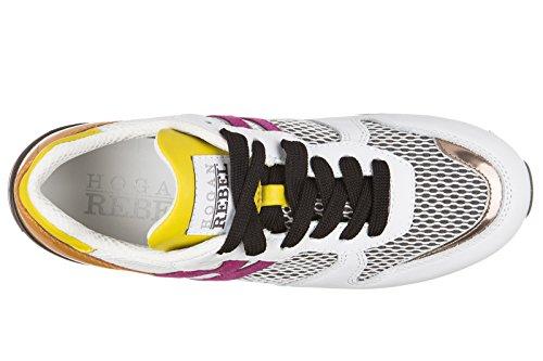 Hogan Rebel Femmes Chaussures En Cuir Baskets Rebel R261 Allacciato Blanc