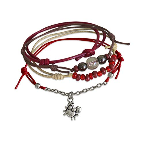 O Yeah Gifts Crab Bracelet 4 Stackable Cord Bracelets Adjustable Nautical Ocean Astrology Bracelet Set with Cute Silver Crab Charm and Red Black Glass Beads Link Chain