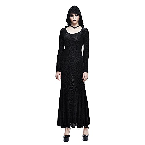 Gr Runde en Gothic 3 Taille Fashion Frauen Kleid Lange Devil Kragen Kleid Lautsprecher rmel High Rock Kapuzenpulli Punk CT1aTPwq