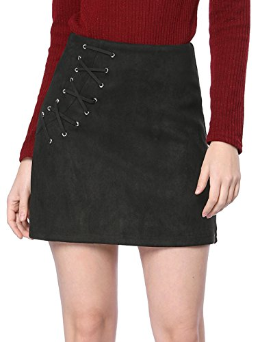 High Waist Mini (Allegra K Women's Eyelet Lace-up Faux Suede A-line Mini Skirt M Black)
