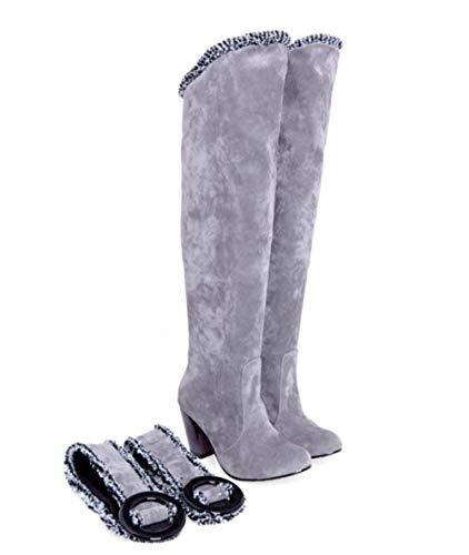 Belted Chunky Belt - zgshnfgk Women's Belt Buckle Cuffed high Boots Chunky Heel Cotton Boots(Grey-36/5.5 B(M) US Women)