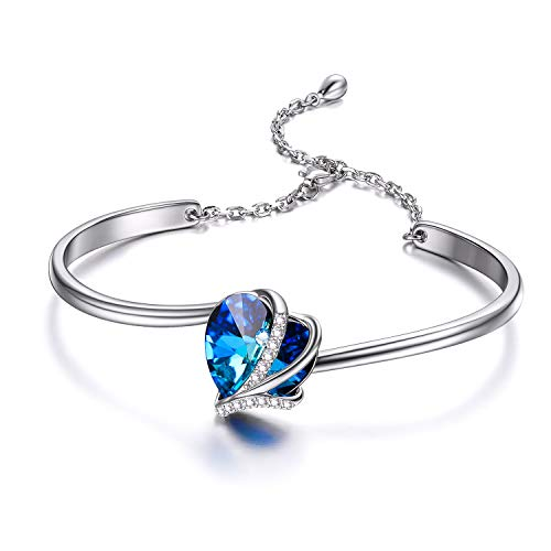 AOBOCO 925 Sterling Silver Love Heart Bangle Bracelets for Women with Blue Swarovski Crystals,I Love You Bracelet Anniversary Birthday Jewelry Gifts for Girlfriend Daughter Wife