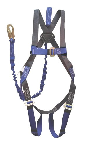 Elk River 01822 ConstructionPlus Polyester/Nylon One D-Ring Harness Retail Clamshell Packaging with 6' NoPac Energy-Absorbing Lanyard, Fits Small to X-Large by Elk River