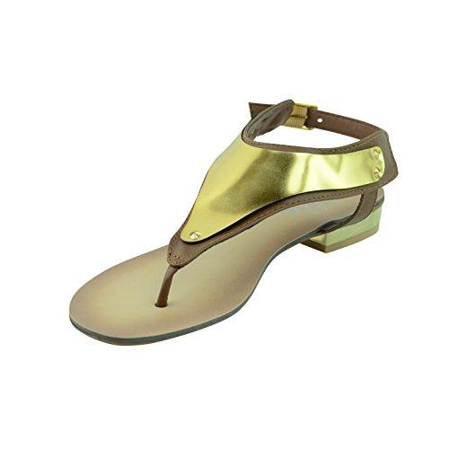 Mujer Tacón Bajo Plano Tanga Tira Entre Dedo CON TIRA TRASERA Chanclas Sandalias Número Zapato - marrón (Tan Faux Leather)