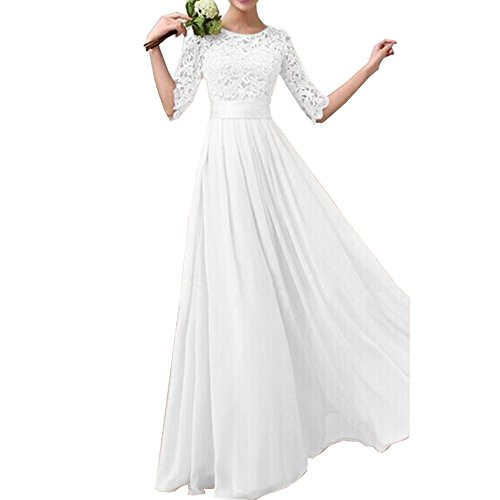 Eiffel Women's Lace Splicing Chiffon Long Maxi Dress Evening Wedding Bridesmaid Gown ,White,X-Large