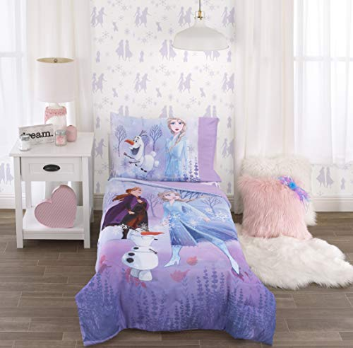 Discover Bargain Disney Frozen 2 Lavender, Light Blue & Purple Forest Spirit 4Piece Toddler Bed Set ...