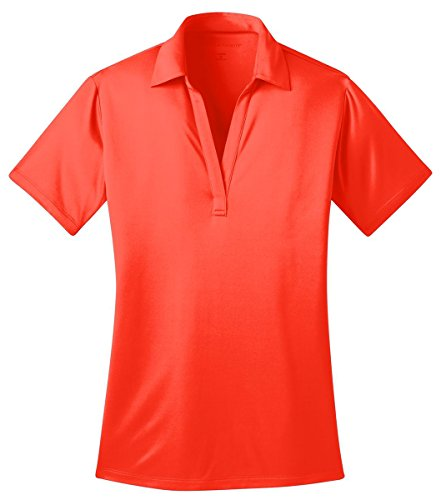 (Port Authority Ladies Silk Touch™ Performance Polo. L540 (Neon Orange) (2X-Large))