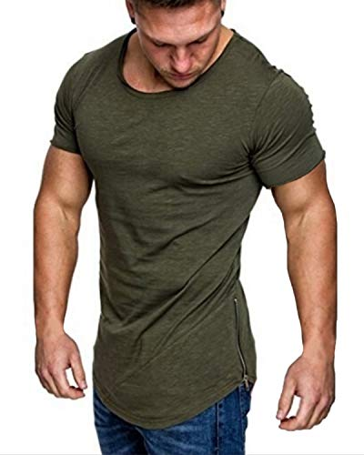 MODCHOK Men's Hipster Hip Hop Longline Short Sleeve Muscle T-Shirt with Side Zipper Trim Army Green L -