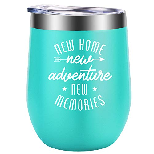 New Home New Adventure New Memories - Housewarming Gifts for Women - Funny House Warming Presents, New house Homeowner, First Home, Hostess Gifts for Mom, Wife, Coworkers, Friends - GSPY Wine Tumbler