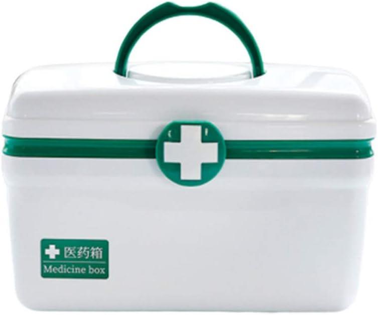 Healifty Caja de Plástico Vacía para Primeros Auxilios Caja de Almacenamiento de Medicamentos con Asa Y Compartimentos Kit de Emergencia Familiar Tamaño L (Verde)