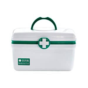 Exceart First Aid Container Lockable Family Medicine Chest Storage Box Empty Emergency Organizer Kit with Handle and Snap Buckle for Home Use (Green Size L)