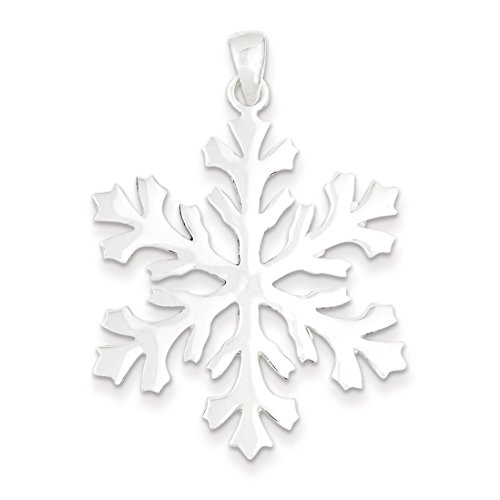 Sterling Silver Snowflake Pendant - (1.65 in x 1.18 in) (Silver Slide Pendant)